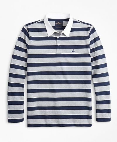POLOKOŠEĽA BROOKS BROTHERS KNT ML STRIPE RUGBY GREY HEATHER