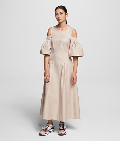 ŠATY KARL LAGERFELD COLD SHOULDER FLARE DRESS