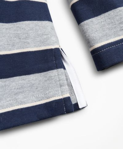 POLOKOŠILE BROOKS BROTHERS KNT ML STRIPE RUGBY GREY HEATHER