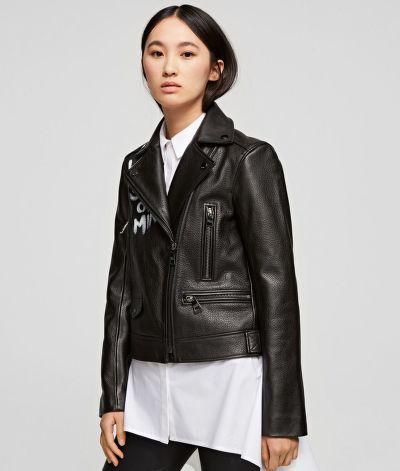 BUNDA KARL LAGERFELD PAINTED LEATHER BIKER JACKET
