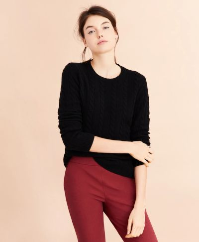 SVETER BROOKS BROTHERS CABLE-KNIT CASHMERE SWEATER