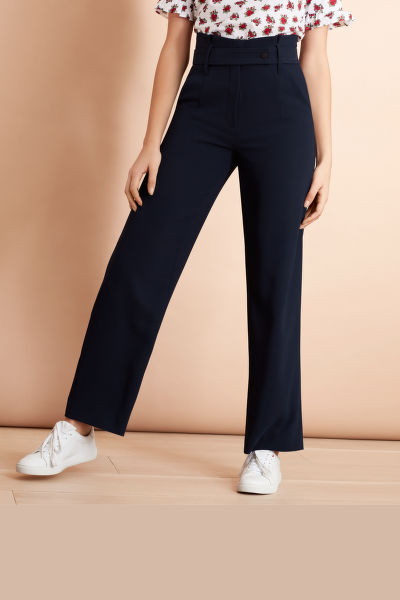 NOHAVICE BROOKS BROTHERS CREPE HIGH-RISE WIDE-LEG PANTS