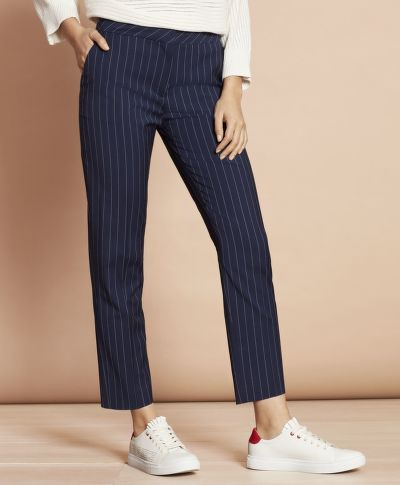 NOHAVICE BROOKS BROTHERS STRIPED STRETCH-WOOL TAPERED PANTS