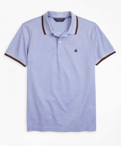 POLOKOŠEĽA BROOKS BROTHERS KNT ML OXFORD PIQUE WITH TIPPING SF KNIT_OXFORD_VIOLET_STORM
