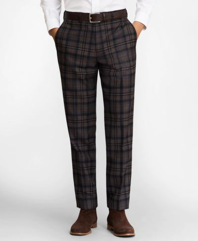NOHAVICE BROOKS BROTHERS REGENT FIT PLAID WOOL TROUSERS