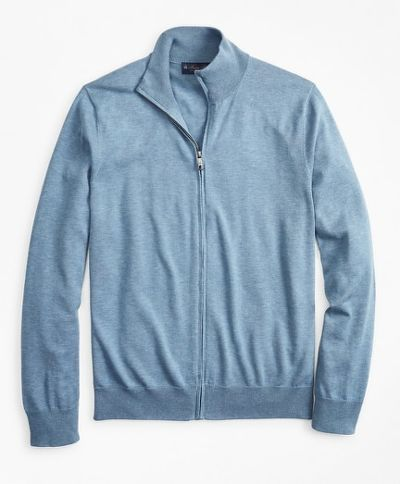 SVETER BROOKS BROTHERS SWT NEW SUPCTN FULL ZIP MED BLUE HTR
