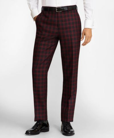 NOHAVICE BROOKS BROTHERS REGENT FIT RED PLAID WOOL TROUSERS