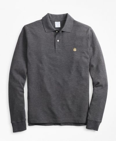POLOKOŠEĽA BROOKS BROTHERS KNT LS SUPIMA CORE POLO SLIM CHARCOAL