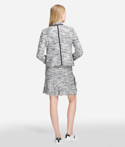 BLEJZR KARL LAGERFELD BOUCLE JACKET W/SATIN PIPING