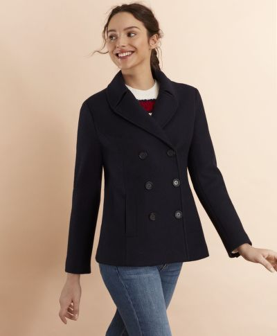 KABÁT BROOKS BROTHERS WOOL-BLEND DOUBLE-KNIT JERSEY PEACOAT