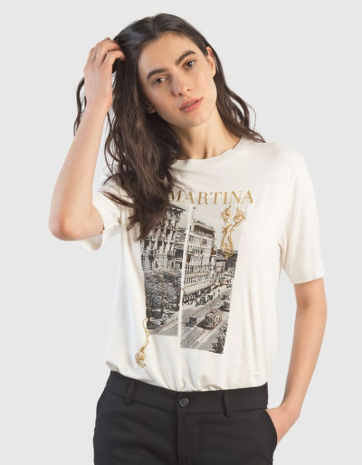 TRIČKO LA MARTINA WOMAN T-SHIRT VISCOSE JERSEY