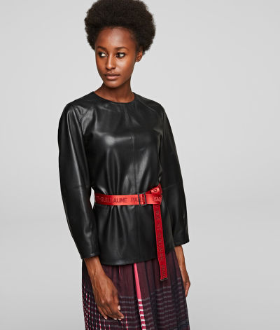 TOP KARL LAGERFELD FAUX LEATHER TOP