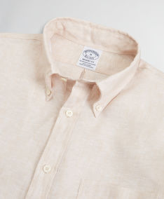 KOŠEĽA BROOKS BROTHERS SPT IRISH LINEN SOLID REGENT SAFARI