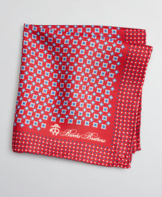 KAPESNÍK BROOKS BROTHERS PCKT SQR FOULARD RED FOULARD PS