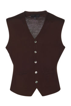 SVETER BROOKS BROTHERS SWT WL EASY CARE SOLID WAISTCOAT NEW MILK CHOCOLATE