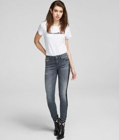 DŽÍNSY KARL LAGERFELD SKINNY DENIM W/SPARKLE STRIPES
