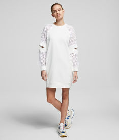 MIKINA KARL LAGERFELD CUT OUT LACE SLV SWEAT DRESS