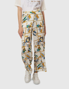 NOHAVICE LA MARTINA WOMAN FLAGS PRINT VISCOSE PANT