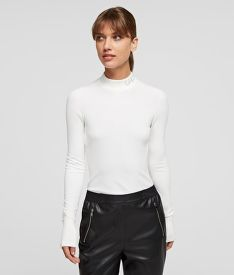 SVETER KARL LAGERFELD LOGO MOCK NECK SWEATER