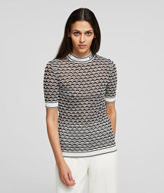 SVETER KARL LAGERFELD BICOLOUR MOCK NECK SWEATER