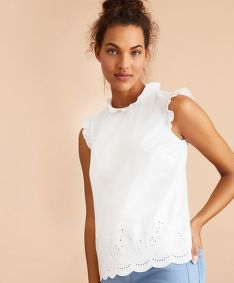 KOŠEĽA BROOKS BROTHERS BLS CTN SLVLESS RUFFLE BRIGHT WHITE