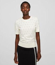 TOP KARL LAGERFELD BURNOUT DOT SSL KNIT TOP