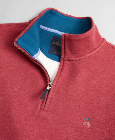 SVETER BROOKS BROTHERS KNT ML BRUSHED TERRY HALF ZIP DK RED HEATHER