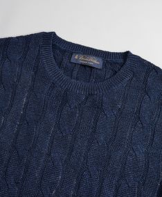 SVETER BROOKS BROTHERS SWT ML LINEN CLASSIC CABLE CREWNECK NAVY BLUE MARL