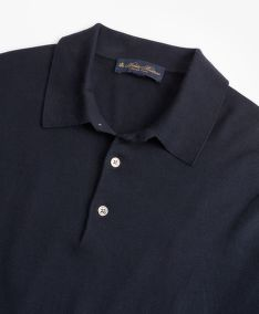 SVETER BROOKS BROTHERS SWT ML SILK COTTON LS POLO MED BLUE