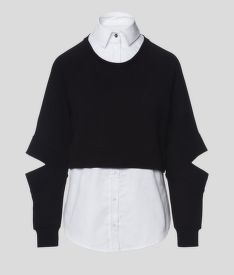 MIKINA KARL LAGERFELD DOUBLE LAYER FABRIC MIX SWEAT