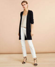 SVETER BROOKS BROTHERS SWT LONG RIB CARDIGAN CAVIAR