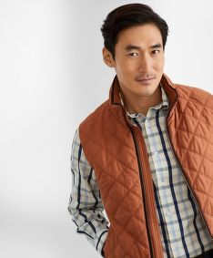 VESTA BROOKS BROTHERS OUT DIAMOND QUILTED VEST LTBROWN