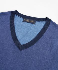 SVETER BROOKS BROTHERS SWT ML SILK COTTON COLORBLOCK VNECK COLOR BLOCK BLUE