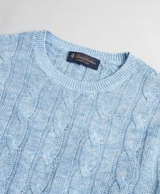 SVETER BROOKS BROTHERS SWT ML LINEN CLASSIC CABLE CREWNECK DENIM BLUE HTR