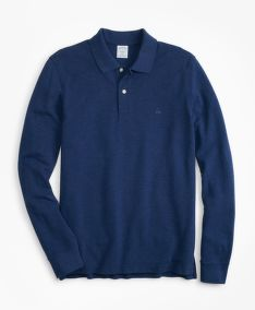 TRIČKO BROOKS BROTHERS SLIM FIT SUPIMA LONG-SLEEVE PERFORMANCE POLO SHIRT