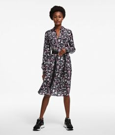 ŠATY KARL LAGERFELD SILK ORCHID PRINT DRESS