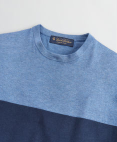 SVETER BROOKS BROTHERS SWT ML PO COLORBLOCKED CREW NAVY - LT BLUE