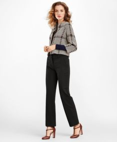 SAKO BROOKS BROTHERS WOOL-SILK GLEN PLAID CROPPED JACKET